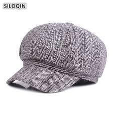 <b>2019 SILOQIN Spring Autumn</b> Women's Cap Cotton Newsboy Caps ...