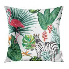 Tropical Jungle <b>Zebra</b> Flamingo Animal Nature Palm Leaves Bird ...