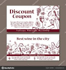 vector coupon template for beverages set of wine banners vector coupon template for beverages set of wine banners sketches illustration for voucher
