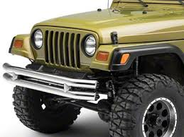 Smittybilt Jeep Wrangler Tubular <b>Front Bumper</b> - <b>Stainless</b> Steel ...