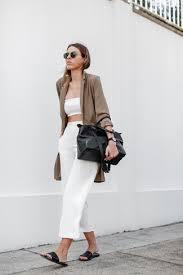 Women's Brown Blazer, White Cropped Top, White Culottes, Black ...