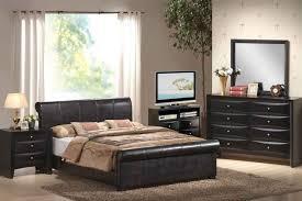 modern bedroom with affordable walmart bedroom furniture sets black leather upholstered sleigh bed and brown leather bedroom furniture