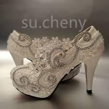 "su.cheny <b>3</b>""/4"" white light ivory lace crystal <b>Wedding Bridal</b> heels ..."