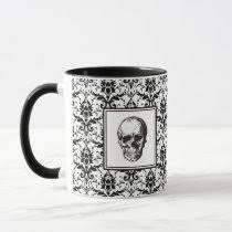 <b>HALLOWEEN</b> Black <b>Gothic</b> Style Damask <b>Pattern Skull</b> | Zazzle.ca