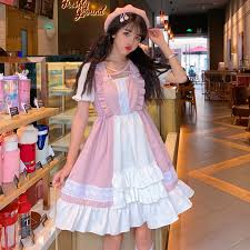 2019 Kawaii Lolita dress Summer <b>Square</b> Collar Short Lolita ...