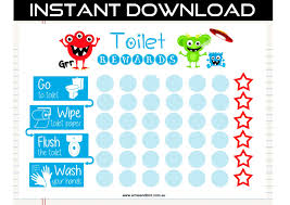 toilet monster printable toilet potty training chart digital monsters and aliens by ernie bird