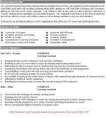 catering assistant cv example   job seekers forumsgood luck