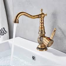 Quyanre <b>Antique Brass Bathroom Basin</b> Carved Faucet Long Nose ...