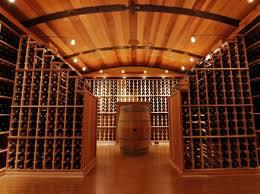 barrel ceiling with racking peninsulas barrel wine cellar designs