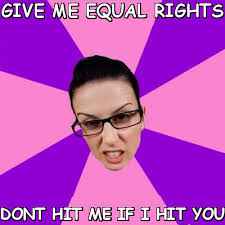 Give me equal rights dont hit me if i hit you (Privilege Denying ... via Relatably.com