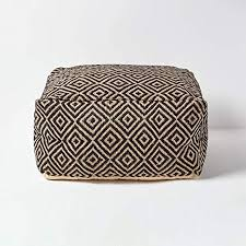 HOMESCAPES <b>Black</b> and Natural Beige Square Jute Beancube ...