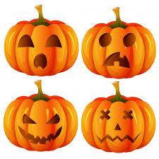 Set of <b>halloween</b> pumpkin funny faces <b>autumn holiday</b> Premium Vector