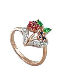 <b>Кольцо</b> из красного золота с бриллиантами, рубинами ...