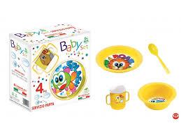 <b>Набор посуды Cosmoplast</b>, детский 4 предмета желтый купить в ...