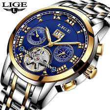 LIGE Luxury Business <b>Carnival tourbillon</b> watch <b>men</b> Stainless Steel ...
