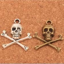 <b>Pirate Skull Halloween</b> Charm Beads 200PCS <b>Antique</b> Silver ...