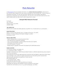 mla resume format resume format  mla