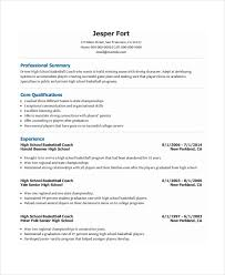 coach resume template     free word  pdf document downloads    basketball coach resume