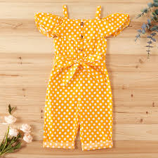 Sale Toddler Girl Pretty Polka Dots <b>Off Shoulder</b> Strappy <b>Onesies</b> at ...