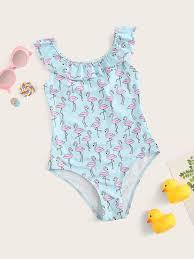 Girls Random <b>Flamingo</b> Print Ruffle One Piece <b>Swim</b> #Ad , #AD ...