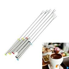 6PCS/Set <b>Stainless Steel Chocolate Fork</b> Hot Pot Cheese Fruit Fork ...