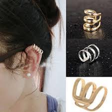 <b>Women Punk</b> Ear Clip Cuff Earrings Non-Piercing Hollow <b>U</b>-<b>Shape</b> ...