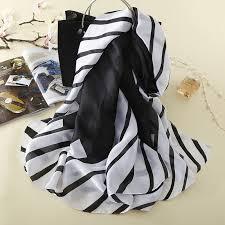 2018 <b>Women Luxury</b> Brand Black and White Striped Real <b>Silk Scarf</b> ...