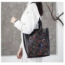 <b>High Quality Genuine</b> Leather Bag Vintage Flower <b>Embossed</b> ...