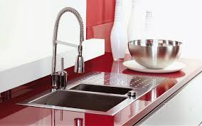 modular kitchen colors: interesting brown color exciting white color acrylic kitchen cabinets red color countertop stainless steel composite kitchen sink stainless steel pre rinse faucet white wall paint color single wall modular kitchen kitchen b