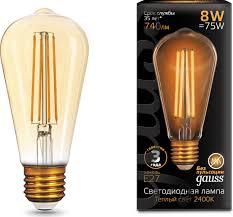 <b>Лампочка Gauss</b> Black LED <b>Filament ST64</b> E27 8W, Теплый свет 8 ...