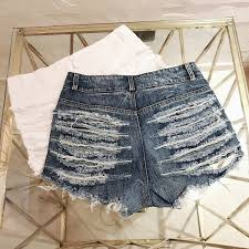 <b>DANJEANER High Waisted</b> Mini Jeans Shorts Women Hollow out ...