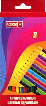 <b>Action</b>! <b>Набор цветных карандашей</b> антискользящих 12 цветов ...