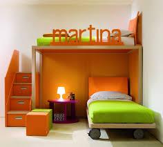 delightful orange color bunk bed childrens bedroom furniture small spaces