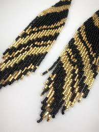Black and gold boho <b>seed bead</b> earrings, beaded earrings, fringe ...