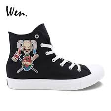 wen girls casual shoes high top hand painted emoji pattern design boys canvas sneakers for male female christmas gifts