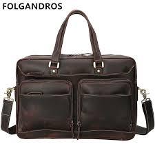 FOLGANDROS <b>Brand Men's</b> Genuine Leather Briefcases Italy ...