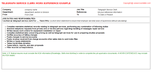 service clerk cv work experience   telegraph service clerk