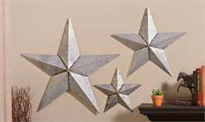 metal star wall decor: set antiqued silver metal star design wall decor