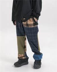<b>Dark Icon Plaid</b> Patchwork Men's Pants Elastic Waist Loose Style ...