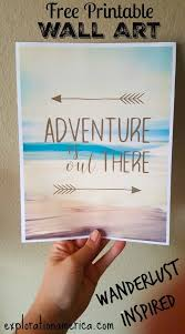 free printable travel wall art home decor adventure is out there love the gorgeous artistic home office track
