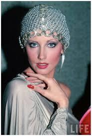 Actress Morgan Fairchild wearing mesh hat 1982 David Mcgough - actress-morgan-fairchild-wearing-mesh-hat-1982-david-mcgough