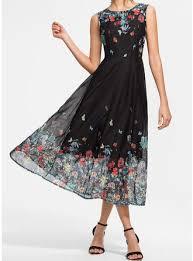 Print/Floral Sleeveless A-<b>line</b> Midi Vintage/Casual/<b>Elegant</b>/<b>Boho</b> ...