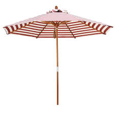 white striped patio umbrella: red and natural white striped  ft patio umbrella with wood pole rwspb
