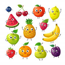 <b>Cartoon funny</b> fruits. happy kiwi <b>banana</b> raspberry orange cherry ...