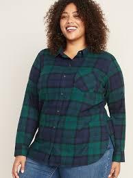 Plaid Flannel No-Peek <b>Plus</b>-<b>Size Classic</b> Shirt | Old Navy