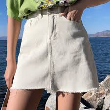 Plus Size Korean <b>Denim Skirts Women</b> Summer <b>High</b> Waist Jean ...
