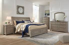 The Lettner Light Gray <b>8 Pc</b>. Dresser, <b>Mirror</b>, Chest, King Sleigh Bed ...