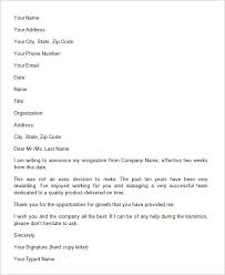 two weeks notice letter  word pdf documents   letter of resignation example two weeks notice