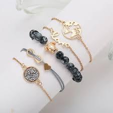 <b>5Pcs</b>/<b>Set</b> LOVE <b>Heart</b> Map <b>Turtle</b> 8 LOVE Round Bracelet Bangle ...