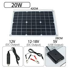 <b>20W Solar Panel</b> USB For Phone Lighting Car Charger DC <b>12V</b>/5V ...